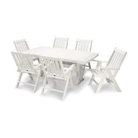 Vineyard 7-Piece Nautical Trestle Folding Dining Set in Vintage White
