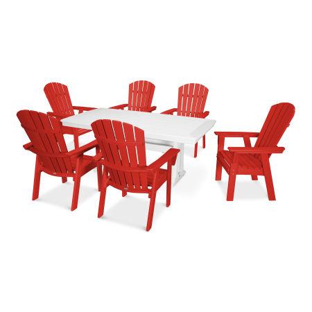 Nautical Adirondack 7-Piece Trestle Dining Set in Sunset Red / White