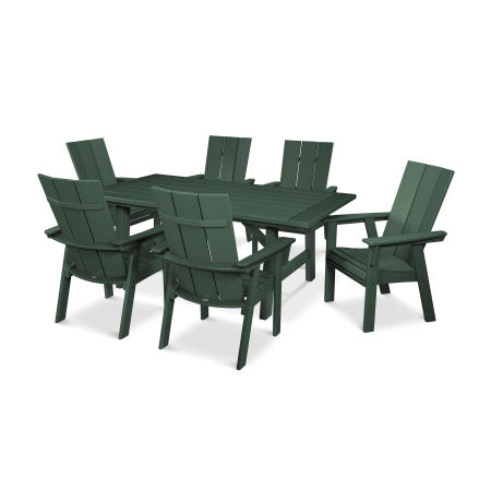 Modern Adirondack 7-Piece Rustic Farmhouse Dining Set in Green