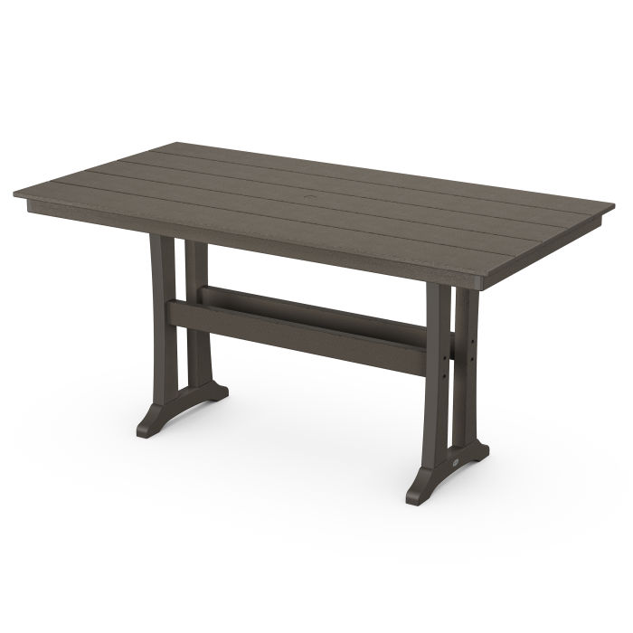 """Farmhouse Trestle 37"""" x 72"""" Counter Table in Vintage Finish"""