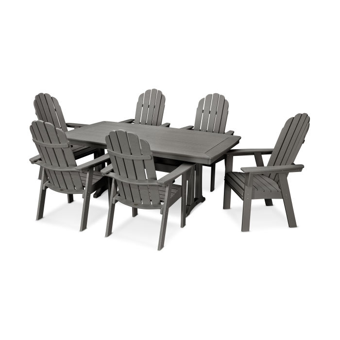 Vineyard Curveback Adirondack 7-Piece Nautical Trestle Dining Set