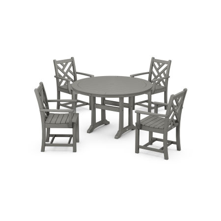 Chippendale 5-Piece Nautical Trestle Dining Arm Chair Set in Slate Grey