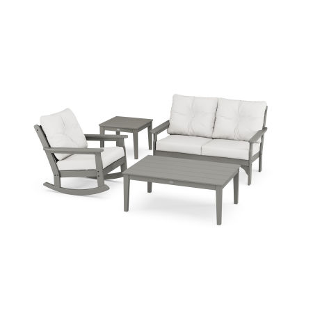 Vineyard 4-Piece Deep Seating Rocker Set in Slate Grey / Natural Linen