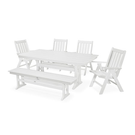 Vineyard 6-Piece Farmhouse Folding Dining Set with Bench in White