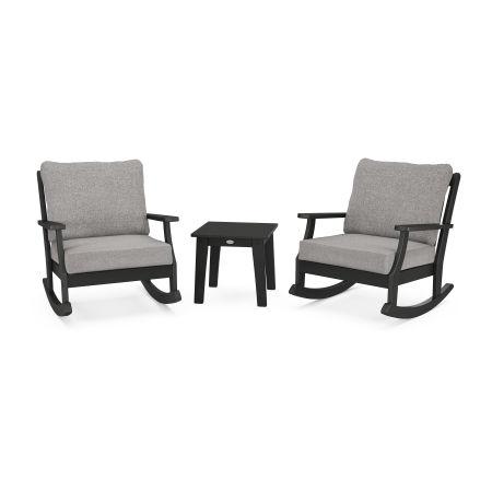 Braxton 3-Piece Deep Seating Rocker Set in Black / Grey Mist