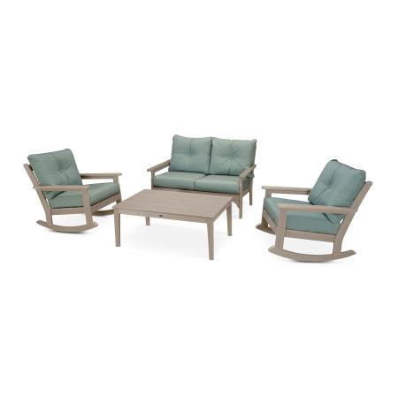 Vineyard 4-Piece Deep Seating Rocking Chair Set in Vintage Sahara / Spa