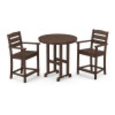 Lakeside 3-Piece Round Counter Arm Chair Set in Mahogany
