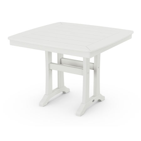 """Nautical Trestle 37"""" Dining Table in Vintage White"""
