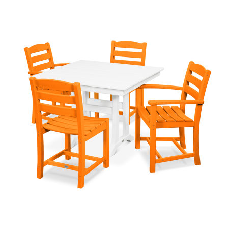 La Casa Café 5-Piece Farmhouse Trestle Dining Set in Tangerine / White