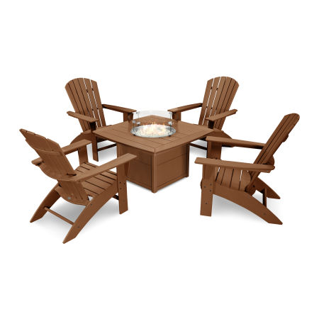 Nautical Curveback Adirondack 5-Piece Conversation Set with Fire Table in Teak