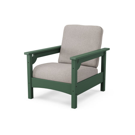 Club Chair in Green / Weathered Tweed