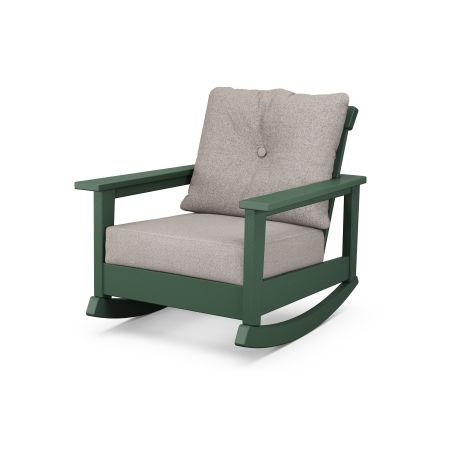 Prescott Deep Seating Rocking Chair in Green / Weathered Tweed
