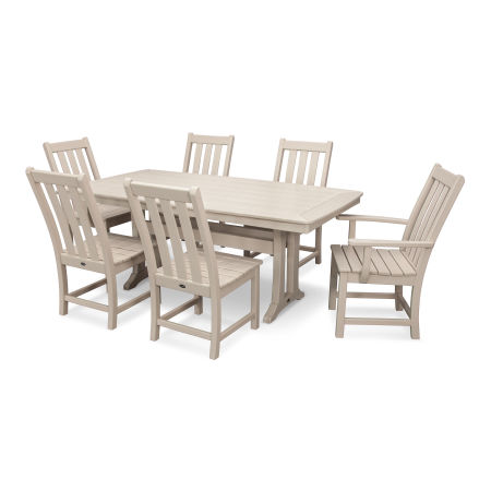 Vineyard 7-Piece Nautical Trestle Dining Set in Sand