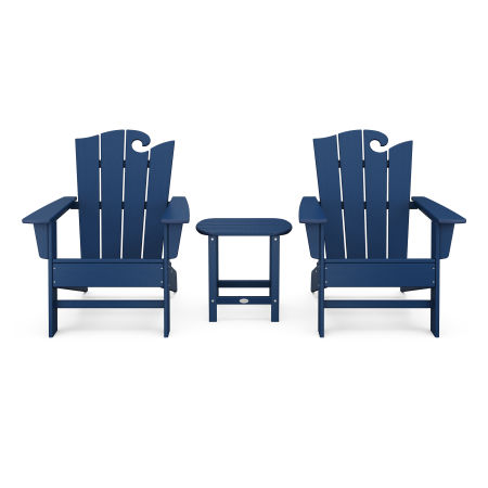 Wave 3-Piece Adirondack Set with The Ocean Chair in Navy