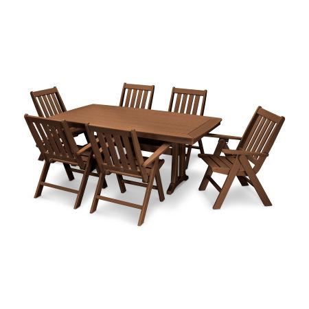 Vineyard 7-Piece Nautical Trestle Folding Dining Set in Teak