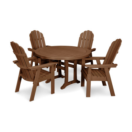 Vineyard Adirondack 5-Piece Nautical Trestle Dining Set in Teak