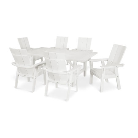 Modern Adirondack 7-Piece Rustic Farmhouse Dining Set in Vintage White
