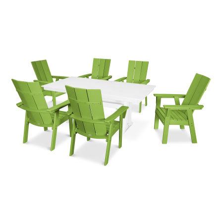Modern Adirondack 7-Piece Farmhouse Dining Set in Lime / White