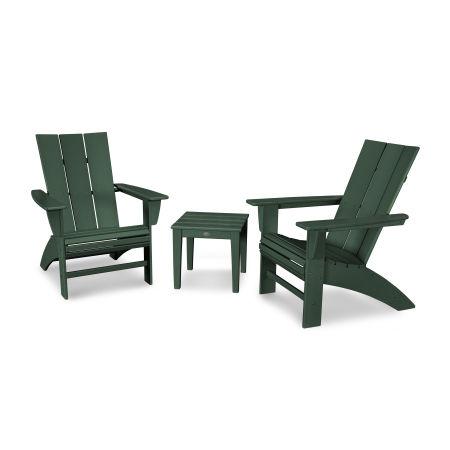 Modern 3-Piece Curveback  Adirondack Set in Green