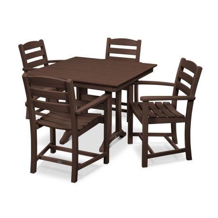 La Casa Café 5-Piece Farmhouse Arm Chair Dining Set in Mahogany