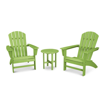 Nautical 3-Piece Adirondack Set in Vintage Lime