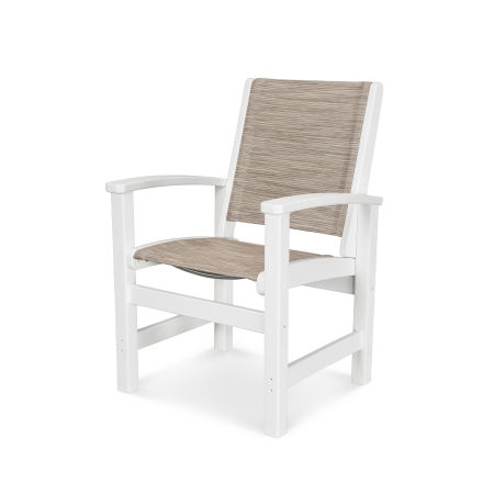 Coastal Dining Chair in Vintage White / Onyx Sling