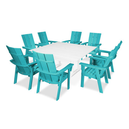 Modern Adirondack 9-Piece Farmhouse Dining Set in Aruba / White