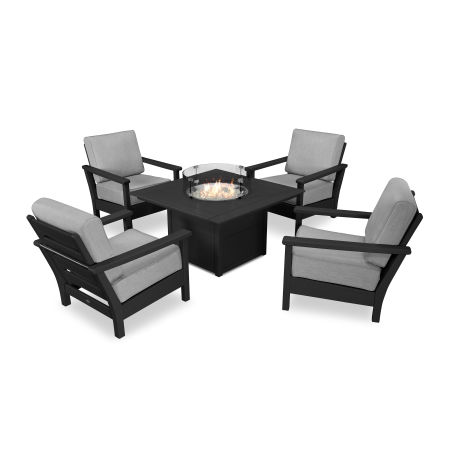 Harbour 5-Piece Conversation Set with Fire Pit Table in Black / Canvas Granite
