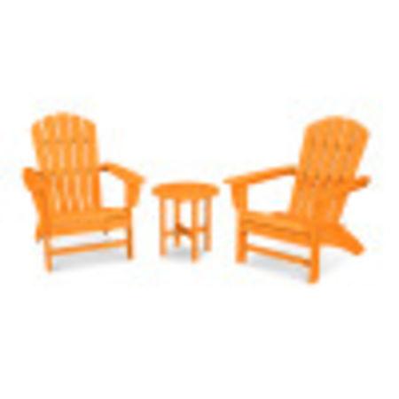 Nautical 3-Piece Adirondack Set in Tangerine