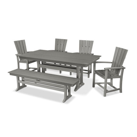 Quattro 6-Piece Farmhouse Trestle Dining Set with Bench