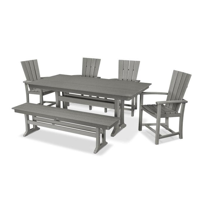 Quattro 6-Piece Farmhouse Trestle Dining Set with Bench
