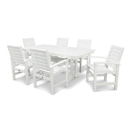 Signature 7 Piece Farmhouse Dining Set in White