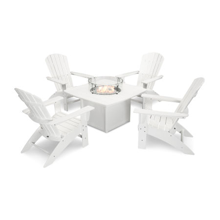 Nautical Curveback Adirondack 5-Piece Conversation Set with Fire Table in White
