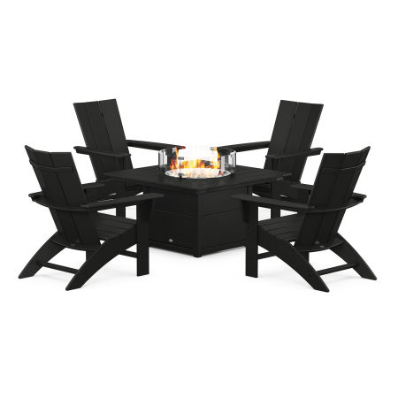 Modern Curveback Adirondack 5-Piece Conversation Set with Fire Pit Table in Black