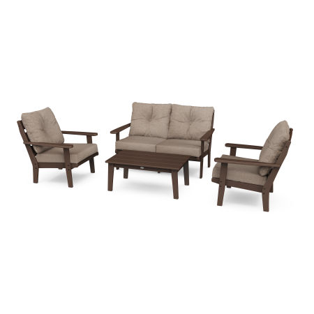 Lakeside 4-Piece Deep Seating Set in Mahogany / Spiced Burlap