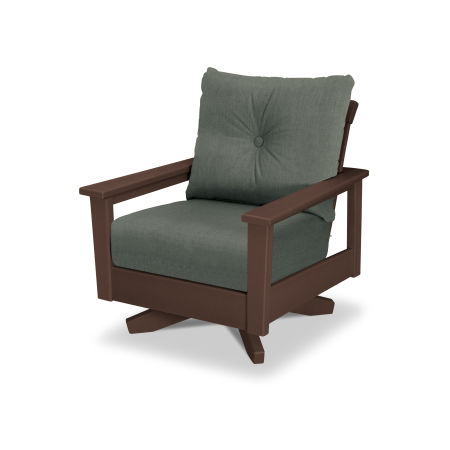 Prescott Deep Seating Swivel Chair in Mahogany / Cast Sage