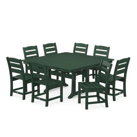Lakeside 9-Piece Farmhouse Trestle Dining Set in Green