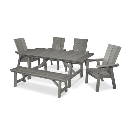 Modern Adirondack 6-Piece Rustic Farmhouse Dining Set with Bench in Slate Grey