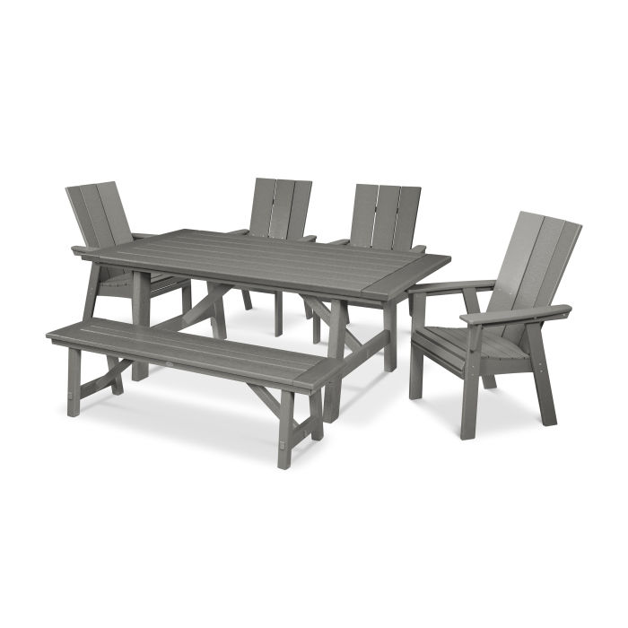 Modern Curveback Adirondack 6-Piece Rustic Farmhouse Dining Set with Bench
