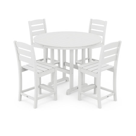 Lakeside 5-Piece Round Counter Side Chair Set in White