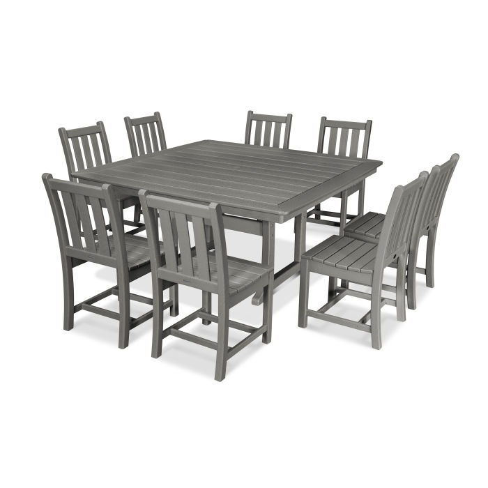 Traditional Garden 9-Piece Nautical Trestle Dining Set