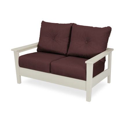 Prescott Deep Seating Settee in Sand / Cast Currant