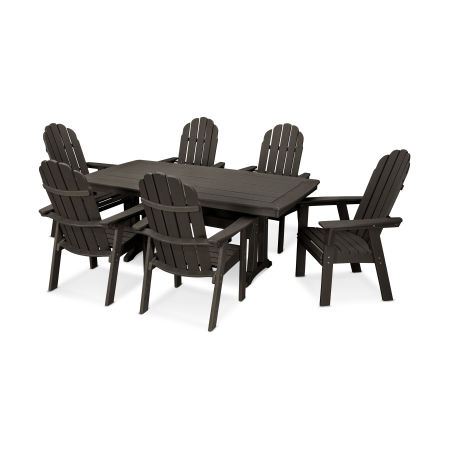 Vineyard Curveback Adirondack 7-Piece Nautical Trestle Dining Set in Vintage Finish