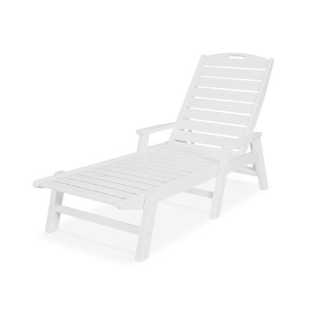 Nautical Chaise with Arms in Vintage White