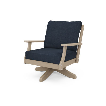 Braxton Deep Seating Swivel Chair in Vintage Sahara / Marine Indigo