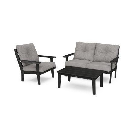Lakeside 3-Piece Deep Seating Set in Black / Grey Mist