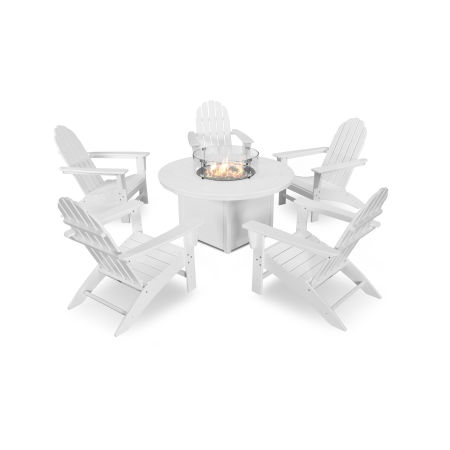 Vineyard Adirondack 6-Piece Chat Set with Fire Pit Table in White