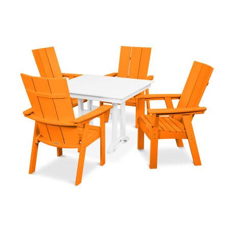 Modern Adirondack 5-Piece Farmhouse Dining Set in Tangerine / White