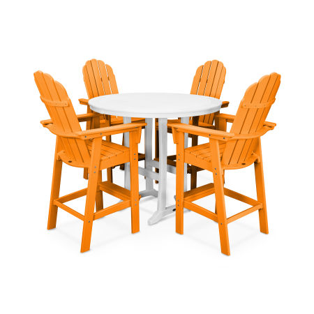 Vineyard Adirondack 5-Piece Nautical Trestle Bar Set in Tangerine