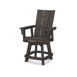 Modern Curveback Adirondack Swivel Counter Chair in Vintage Finish
